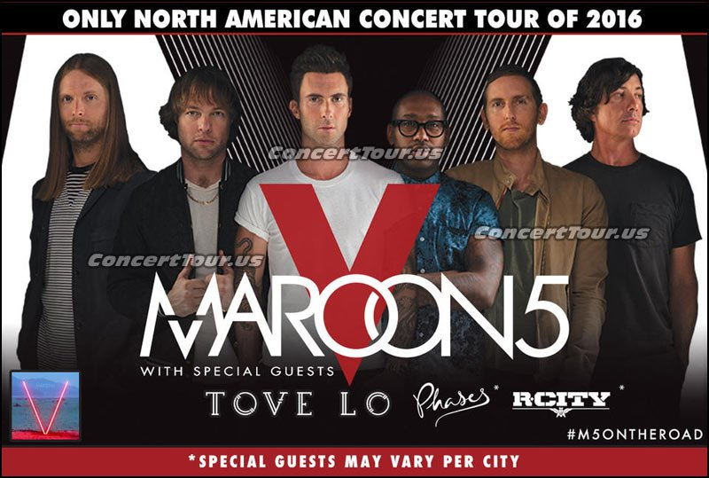 Maroon 5 has a ton of late 2016 concert tour dates planned. They'll be on the road with Tove Lo, Phases, RCity and more!