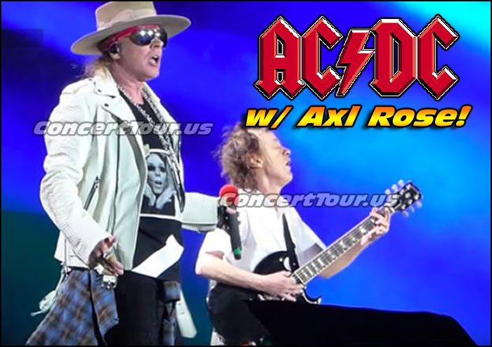 As of now, Axl Rose (from GNR) will front AC/DC, unless Brian Johnson is able to make it back.