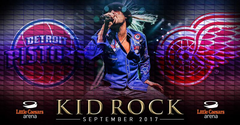 KID ROCK will be performing multiple concerts at the new Little Caesers Arena in Detroit!