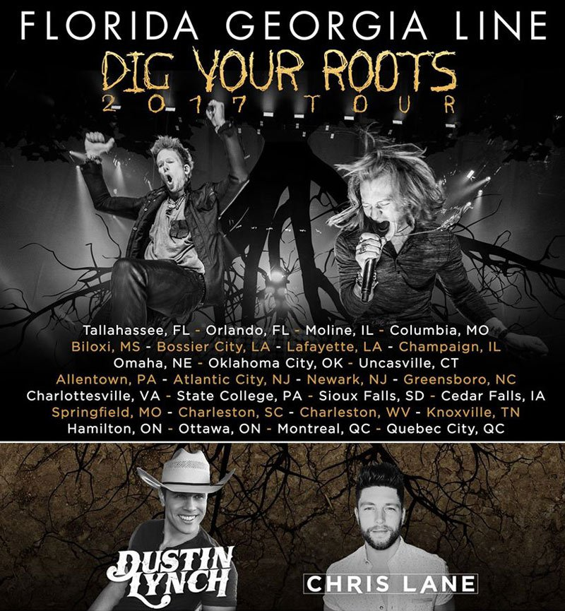 See the country music band Florida Georgia Line on their 'Dig Your Roots' Concert Tour!