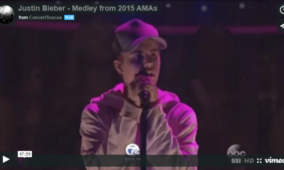 Justin Bieber Sings Several Songs at this Year's American Music Awards Show