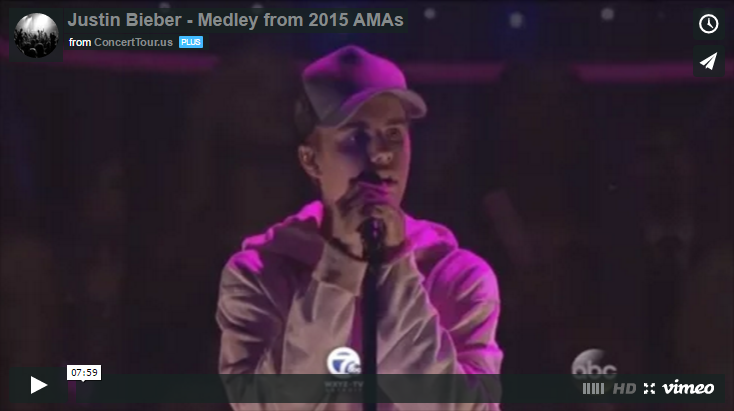 Justin Bieber Sings Several Songs at this Year's American Music Awards Show, Watch Video Here!