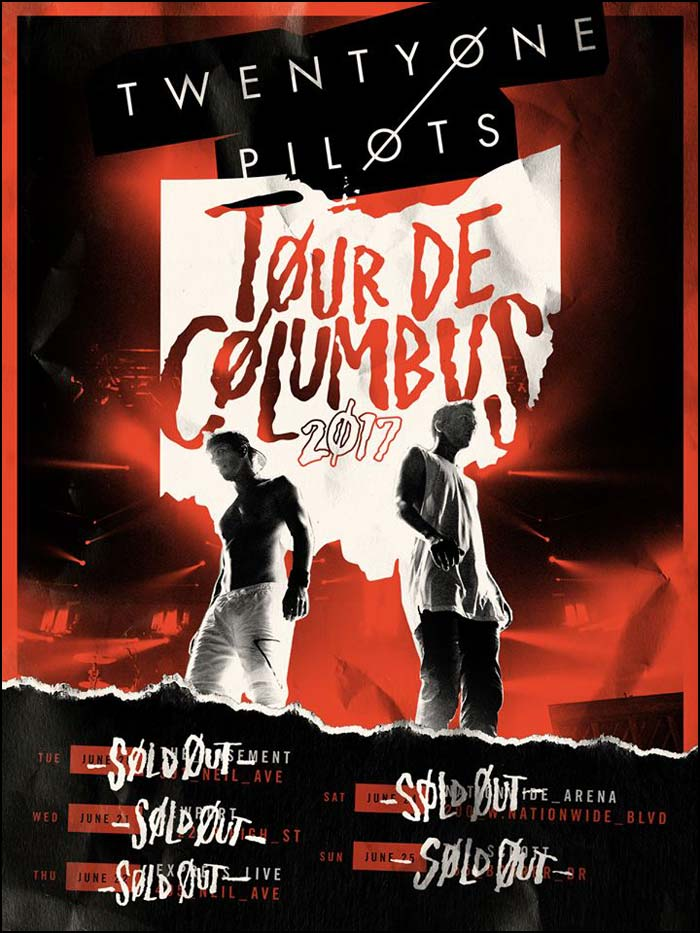 Twenty One Pilots release a handful of concerts in Columbus OH for their 'Tour De Columbus'.