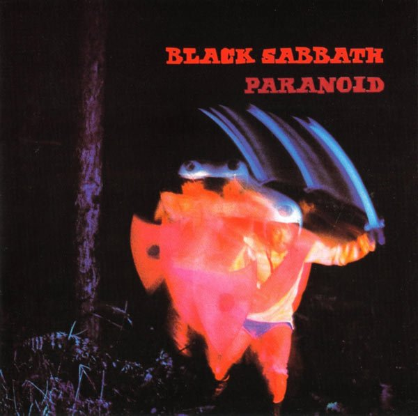The song PARANOID was Released by BLACK SABBATH in 1970. Photo is of A blurred photograph of a man wearing a helmet and sash and brandishing a sword with the title of the album and artist written in the background.