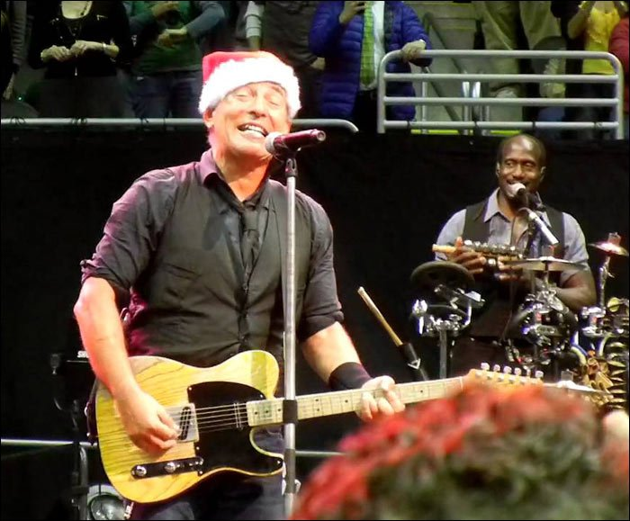 Bruce Springsteen sprung this Christmas song on his fans during a live concert in 2002. Looks like it was a great show.