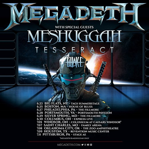 MEGADETH Summer Tour with Meshuggah, TesseracT, and LILLAKE!!