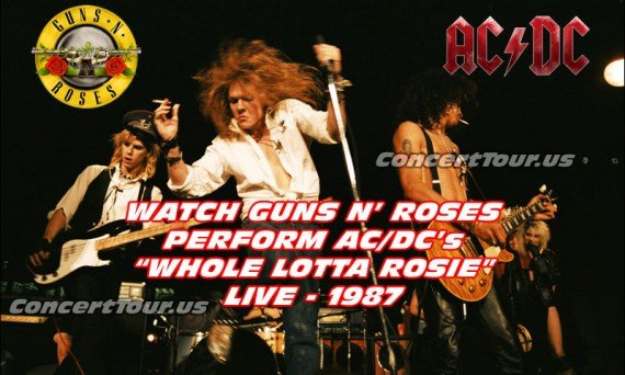Guns N' Roses play AC/DC's song 'Whole Lotta Rosie' all the way back in 1987 from London. Watch the video above.