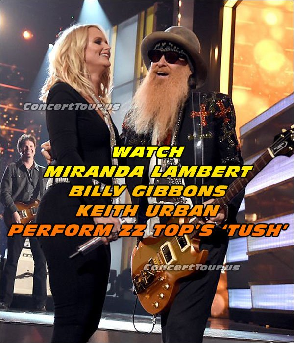 Miranda Lambert performs with ZZ Top's Bill Gibbons and country hunk Keith Urban at this past ACM Awards Show.