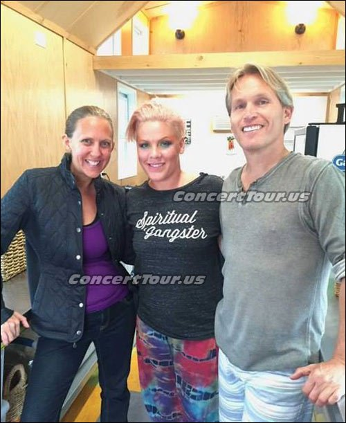 Picture of 'Behind The Scenes' of P!NK & company practicing and getting ready for their live performance.