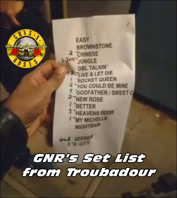 Set list from the Guns N' Roses show at the Troubadour.