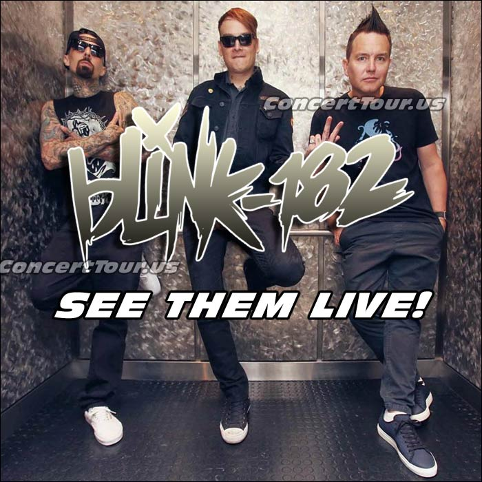Blink-182 fans are extra excited! Their favorite band is going on tour this year. Don't miss your chance to see BLINK 182 Live in Concert!
