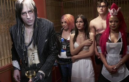 Reeve Carney, left, Annaleigh Ashford, Victoria Justice, Ryan McCartan and Christina Milian star in Fox's new version of 'The Rocky Horror Picture Show.' (Photo by: Steve Wilkie of Fox)