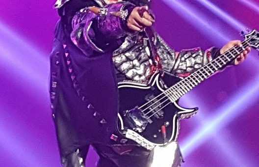 Gene Simmons points at the crowd during their live concert.