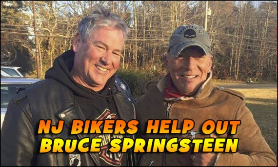 Dan Barkalow, left, and Bruce Springsteen pose for a photo after he helped the rock star when he was stranded on a road in New Jersey.