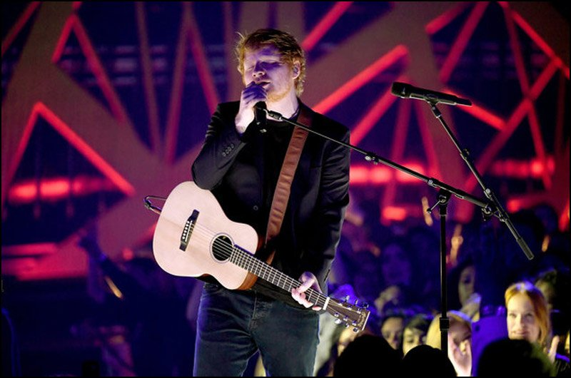 Ed Sheeran performs 'Shape of You' at the 2017 iHeartRadio Music Awards Show.