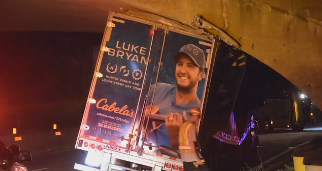 Luke Bryan tractor trailer hits Parkway overpass in Long Island NY