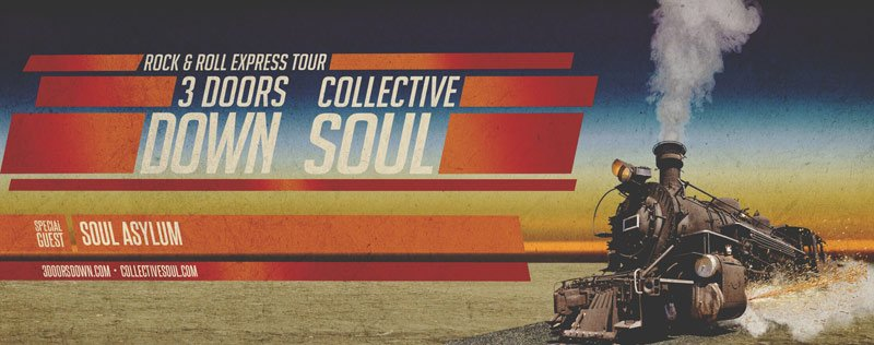 Don't miss The Rock & Roll Express Tour consisting of rock bands 3 Doors Down and Collective Soul.