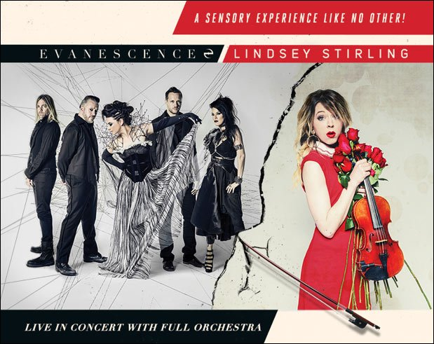 Dubbed as 'A Sensory Experience Like No Other!', do not miss Evanescence and Lindsey Stirling live in concert.