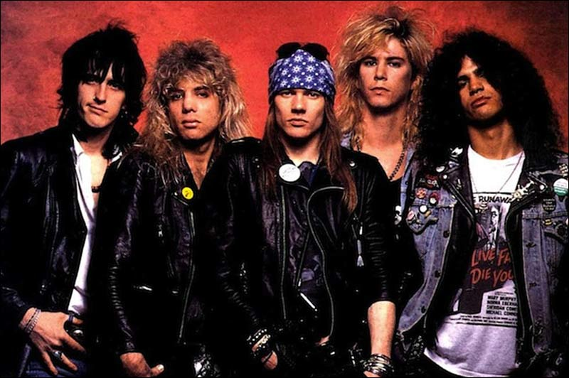 Here's the original Guns N' Roses line-up from their first album: Izzy Stradlin, Steven Adler, Axl Rose, Duff McKagan and Slash.