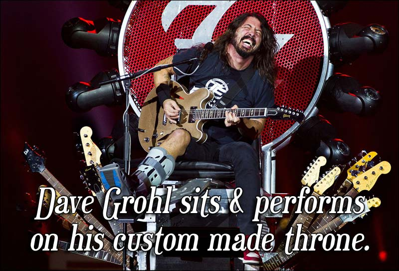 Dave Grohl Falls Off Stage Again & Gets Hurt … Bazinga!