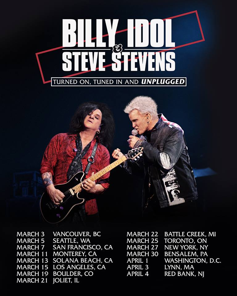 Don't miss both Billy Idol and Steve Stevens on the stage together as they hit up a small amount of lucky North American cities to perform live concerts in.