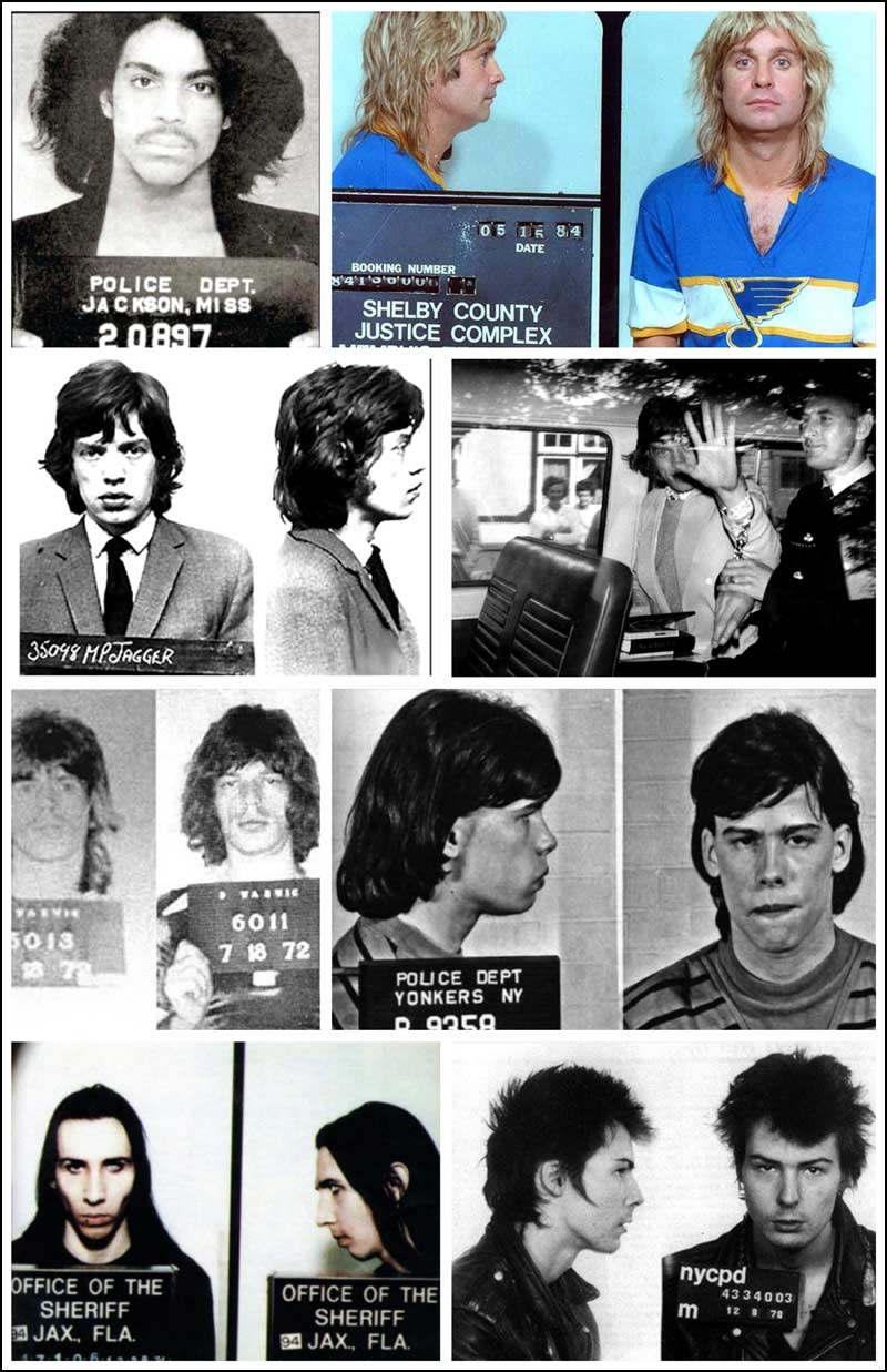 Included in the mugshots / arrest photos in this 2md collage include Prince, Ozzy Osbourne, Mick Jagger, Keith Richards, Steven Tyler, Marilyn Manson and Sid Vicious.