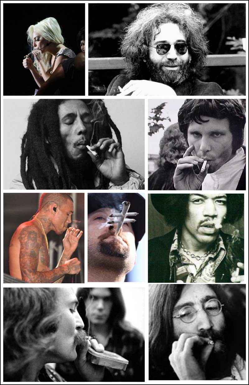 In this photo we find Lady Gaga, Jerry Garcia, Bob Marley, Jim Morrison, Chris Brown, B-Real, Jimi Hendrix, David Crosby and John Lennon