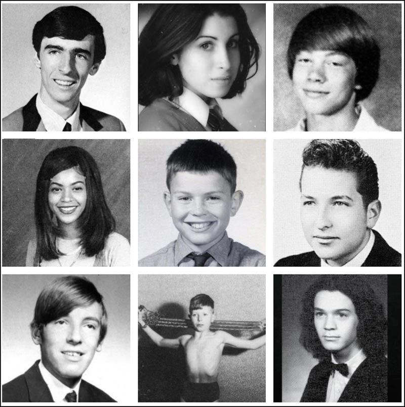 In this first collage we have Alice Cooper, Amy Winehouse, Axl Rose, Beyonce, Billy Idol, Bob Dylan, Bruce Springsteen, David Bowie and Eddie Van Halen.