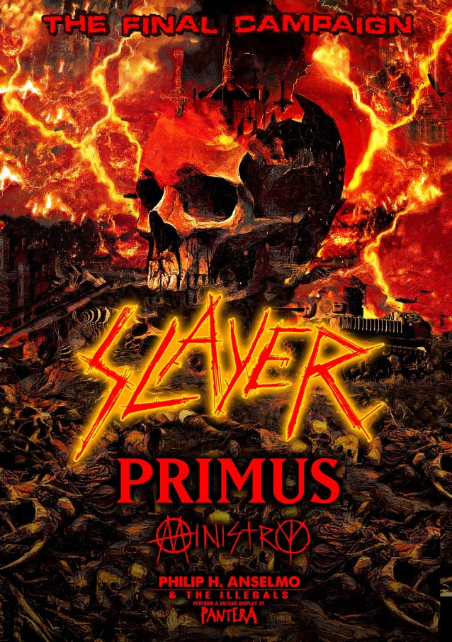 Slayer will be on the road with Primus and Ministry on their 'Final Campaign' world tour.