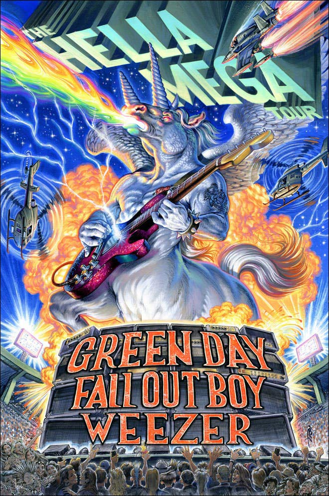 The combination of Green Day, Weezer and Fall Out Boy will make this Hella Mega Tour an event you definitely want to see! Don't miss your chance to see these three mega-bands take to the stage to perform all their popular hit songs.