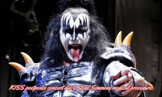 KISS Postpones concert due to singer/bassist Gene Simmons requires an immediate medical procedure.