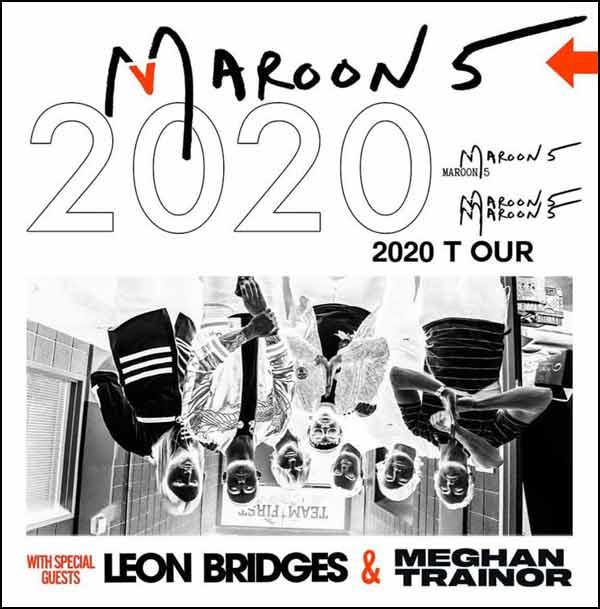 Maroon 5 and their 2020 Tour feature Meghan Trainor & Leon Bridges