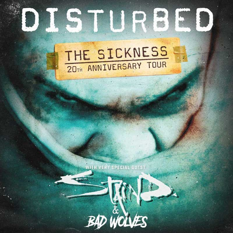 Disturbed will be on tour this 2020 year in support of the 20th Anniversary of the release of their first album The Sickness. Special guests are STAIND and Bad Wolves.