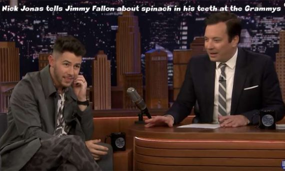Watch the video below to see Nick Jonas tell Jimmy Fallon about having spinach stuck in his teeth during a performance at the Grammys.