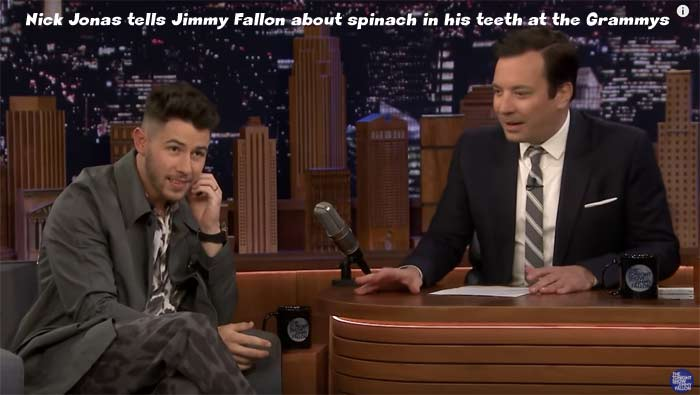 Nick Jonas has Spinach Mishap During the Grammys