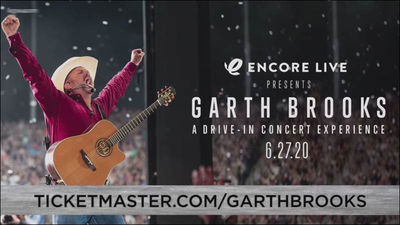 If you're lucky, you can catch a Garth Brooks concert on the big screen at a Drive In Theater near you.