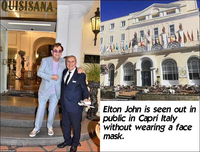Elton John Gets Busted Without Wearing a Face Mask in Capri Italy