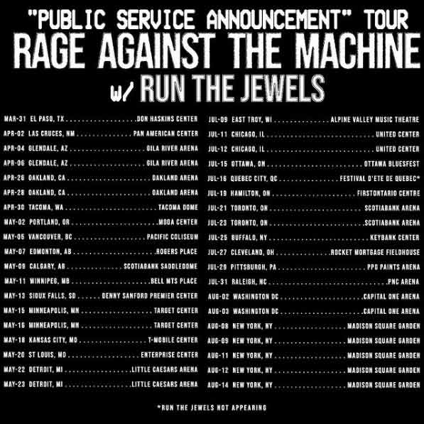 The Rage Against The Machine tour will now start in the spring of 2022.
